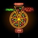 Pizza d'enseigne au néon illustration stock