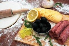 pizza d'ingrédients Image stock