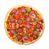 Pizza d'isolement image stock