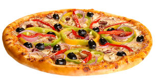Pizza d'isolement Photos stock