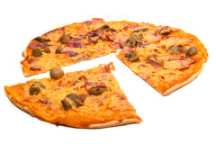 Pizza d'isolement Images stock