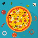 Pizza d'isolement, ingrédients traditionnels pour la pizza Illustration Stock