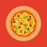 Pizza d'isolement, ingrédients traditionnels pour la pizza Vecteur Illustration Stock