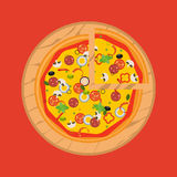 Pizza d'isolement, ingrédients traditionnels pour la pizza Vecteur Illustration Libre de Droits