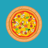 Pizza d'isolement, ingrédients traditionnels pour la pizza Vecteur Illustration de Vecteur