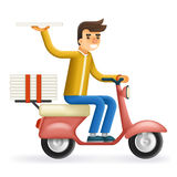 Pizza 3d realistic Delivery Courier Motorcycle Scooter Box Symbol Icon Concept  on Stylish Background Flat Royalty Free Stock Photo