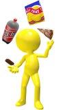 A pizza da cola do juggler da comida lixo lasca o gelado Imagem de Stock