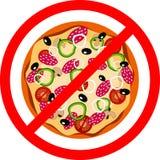 Pizza da ilustração do vetor, sinal vermelho da proibição Ilustração Stock