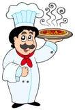 Pizza da terra arrendada do cozinheiro chefe dos desenhos animados Foto de Stock Royalty Free