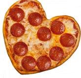 Pizza dada forma coração para o dia de Valentim Imagem de Stock Royalty Free