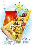 Pizza dans bleu-clair Image stock