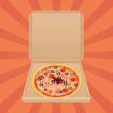Pizza dans la boîte de papier Bannière de publicité de Web de service et de menu de métier de boîte de la livraison de pizza Photographie stock