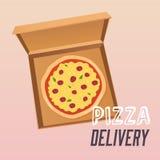 Pizza dans la boîte en carton ouverte delivery Style plat de conception Image libre de droits