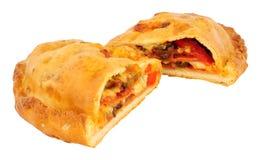 Pizza de Calzone d'isolement sur le blanc Image stock