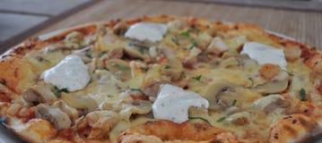Pizza de champignon de couche et de poulet Photographie stock libre de droits