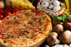 Pizza de champignon de couche Photos libres de droits