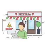 Pizza de compra del hombre en línea Imágenes de archivo libres de regalías
