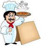 Pizza de fixation de chef avec la table illustration de vecteur