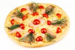 Pizza de fromage avec des tomates Image libre de droits