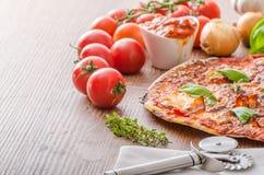Pizza de fromage avec les piments et le basilic Image stock