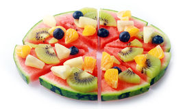 Pizza de fruit tropical Photos stock