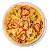 Pizza de fruits de mer à partir du dessus Image libre de droits