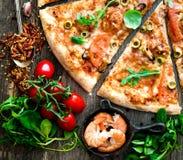 Pizza de fruits de mer Image libre de droits