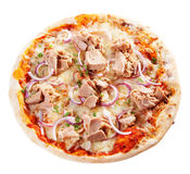Pizza de fruits de mer avec le thon et le mozzarella Photos libres de droits