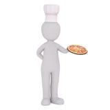 Pizza de Holding Fresh Baked do cozinheiro chefe dos desenhos animados na bandeja Imagens de Stock Royalty Free