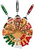 Pizza de Italia en tabla de cortar en la lengua rusa Fotos de archivo libres de regalías