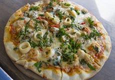 Pizza de la albahaca del mar Foto de archivo