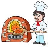 Pizza de la hornada del cocinero stock de ilustración