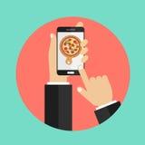 Pizza de la orden en línea Imagenes de archivo