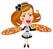 Pizza de la porción de la camarera Imagen de archivo libre de regalías