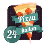 Pizza de logo 24 heures, vingt-quatre heures sur vingt-quatre Icône plate d'aliments de préparation rapide Photos libres de droits