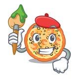 Pizza de los mariscos del artista servida en la placa del carácter stock de ilustración