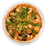 Pizza de los mariscos del top Fotografía de archivo