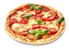Pizza de Margherita decorada com manjericão fresca Imagens de Stock