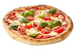 Pizza de Margherita em uma crosta de torta grossa Imagens de Stock