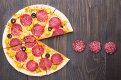 Pizza de Pacman Fotografia de Stock Royalty Free