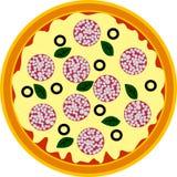 Pizza de Pepperoni ilustração stock