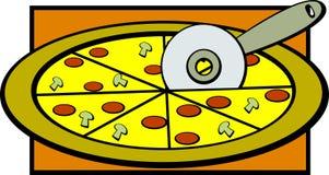 Pizza de pepperoni de vecteur découpant l'illustration en tranches Image stock