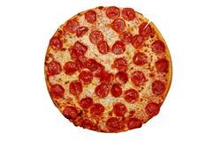 Pizza de pepperoni entière images libres de droits