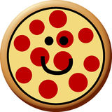Pizza de pepperoni feliz Fotografia de Stock