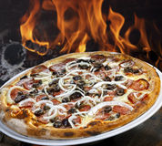 Pizza de pepperoni grillée image stock