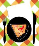 Pizza de plaque, de couteau et de fourchette Image stock