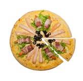 Pizza de poissons et de crevettes Images libres de droits