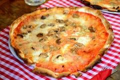 Pizza de Quattro Formaggi con las setas Imágenes de archivo libres de regalías