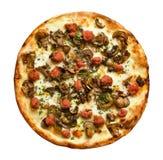 Pizza de saucisse Photos stock