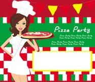 A pizza de sorriso do serviço da empregada de mesa, coloca para seu texto Foto de Stock Royalty Free